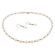 Pearl Garnet & Gold Set