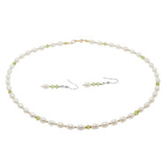 Peridot, Pearl & Gold Set