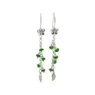 Long Silver & Emerald Green Diopside Earrings