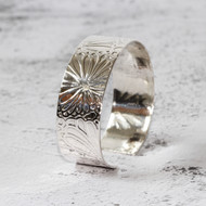 Silver Cuff with Flower Design