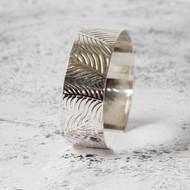 Silver Cuff  with Leaf Design