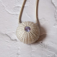 Sea Urchin cast in Sterling Silver Set with Amethyst