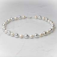 Pearls with Silver Foiled Murano Bead Set