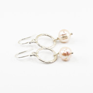 Textured Silver & Baroque Pearl Earrings
