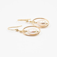 Drop Shaped Pearl And Gold Vermeil Earrings