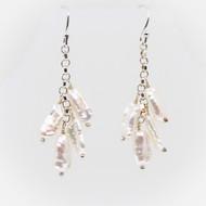 Biwa Stick Pearl & Silver Earrings