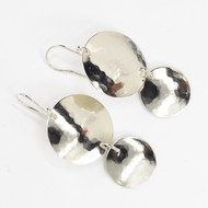 Textured Disc Sterling Silver Earrings
