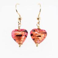 Murano & Gold Heart Earrings