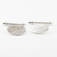 Leaf Patterned Sterling Silver Cuff Links