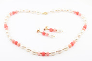 Freshwater Pearls with Coral Set