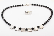 Faceted Black Onyx & Silver Set