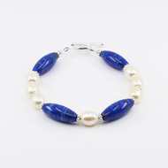 Lapis lazuli, Pearl And Silver Bracelet