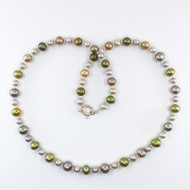 Olive Green, Bronze & Grey Freshwater Pearl Set