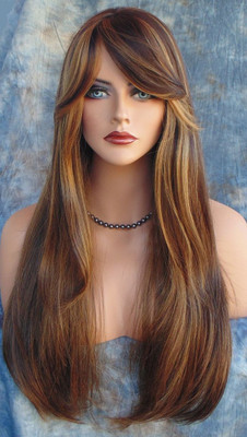 HUMAN HAIR BLEND WIG HEAT SAFE P4.27 GORGEOUS SEXY LONG STRAIGHT STYLE 238