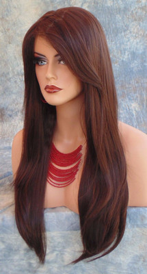 HUMAN HAIR BLEND WIG HEAT SAFE CLR #4 GORGEOUS SEXY LONG STRAIGHT STYLE *279