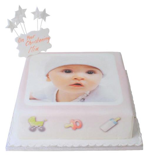 Baby Girl Photo Cake