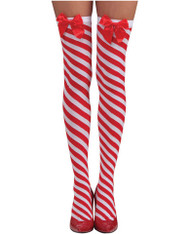 Candy Cane Thigh High Stockings Red/White O/S