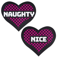 Naughty & Nice Heart Black, Pink Pasties