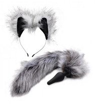 Fox Tail Anal Plug and Ears Set - Gray