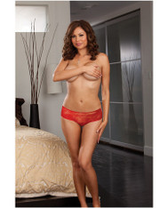 Red Open Crotch Ruffle Panty - 3X/4X