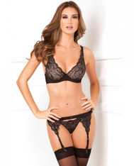 Black Lux Lace Garter & Thong Set - M/L