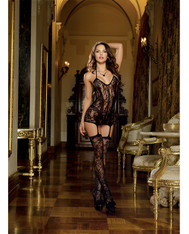Lace Fishnet Halter Garter Dress w/Opaque Bodice Lines, Halter Ties & Attchd Stkngs Blk O/S