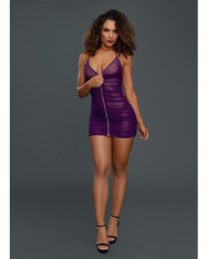 Sheer Front Zipper Chemise w/G-String Plum O/S