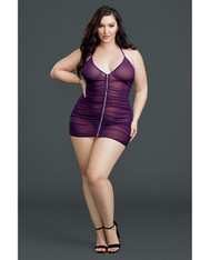Sheer Front Zipper Chemise w/G-String Plum QN