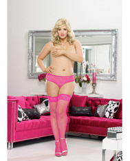Stay Up Fishnet Thigh Highs w/Back Seam (Black Light) Hot Pink QN