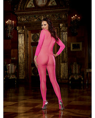 Fishnet Long Sleeved Open Crotch Bodystocking Neon Pink QN