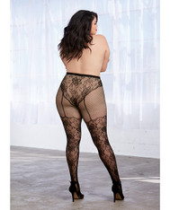 Lace & Fishnet Pantyhose w/Knitted High Waist Lace Panty & Thigh High Design Black QN