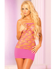 Pink Lipstick Web Of Seduction Tube Dress - Pink