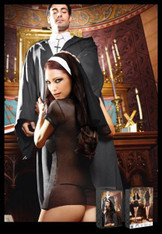 Catholic School Black Nun Habit Dress, Headwear - M/L
