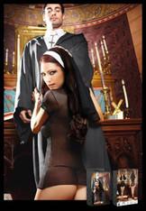 Catholic School Black Nun Habit Dress, Headwear - M/L