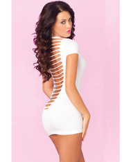 Pink Lipstick Seamless Mini Dress w/Super Sexy Back Slits - White