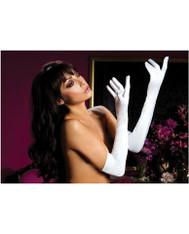 Satin opera length gloves - White