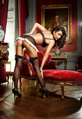 Sheer Jacquard Thigh Highs w/ Silk Satin Bow O/S  3-Pk