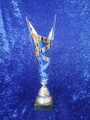 silver blue metal cone award