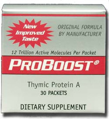 ProBoost is a protein from the thymus gland 30 packets for sublingual use (under the tongue).  The thymus gland actives lymphocytes and turns them into cells which fight bacteria, virus, cancer and other unfriendly organisms.   All white blood cells are either leukocytes or lymphocytes. All lymphocytes are either B-cell or T-cell.  The T-cells are Thymus Activated lymphocytes.  Called the most powerful immune medicine every by Dr Julian Whitaker.  Dose: 1-3 packets dissolved under the tongue each day.