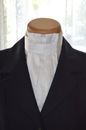 White Euro pre tied Tie w/Silver Pinstripes by Style Stock