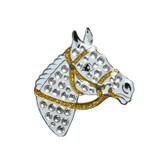 Navika Charms - Crystal horse head lapel pin