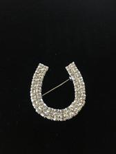 Double Row Crystal Horseshoe Brooch Pin
