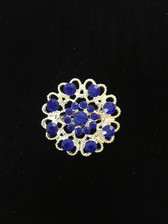 Hidden Hearts Crystal Brooch Pin - Blue