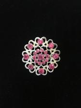 Hidden Hearts Crystal Brooch Pin - Pink