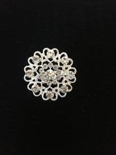 Hidden Hearts Crystal Brooch Pin - Clear
