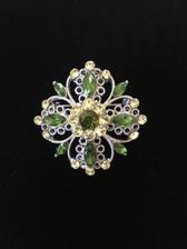4 heart Crystal Brooch Pin - Green