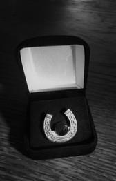 Antique silvertone horseshoe with genuine onyx