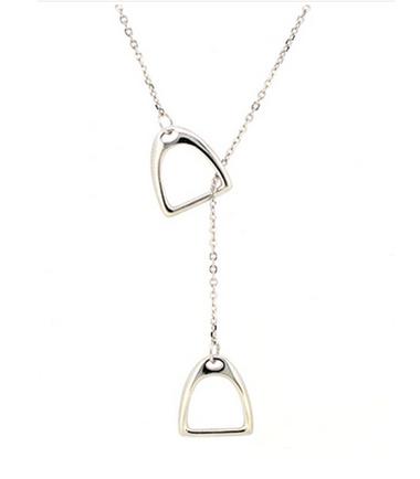 Navika Girl Double Stirrup Necklace Sterling Silver