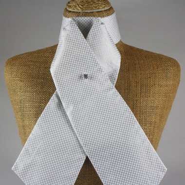White and Metallic Silver Criss Cross Pre Tied Stock Tie