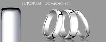 Euro Comfort-Fit Wedding Rings - curved on the inside / flat rounded edges on the outside